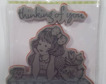 Penny Black: Thinking of You mounted rubber stamp