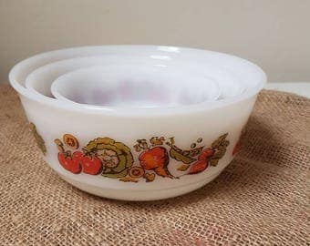 Vintage//Schott Mainz//Jena ER glass//serving bowls//Set of 3//serving scale//Retro//1970//Serving//scale//vegetables//kitchen
