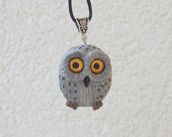 Gray Owl pendant necklace jewelry, handmade owl of clay, animal owl totem, owl amulet, owl talisman, owl night Birds, spirit owls animals