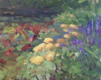LillyPond, in my Garden, plein air painting by Alexia Scott