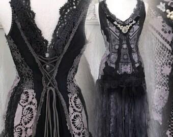 Gothic wedding dress, black and dark blue wedding dress , goth dress,Witches dress,Trashed black dress , ragged black dress , rawrags we