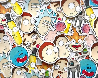 Rick and Morty Hand Cut Sticker SET by Michelle Coffee