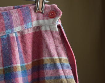 Vintage Pink Plaid Skirt