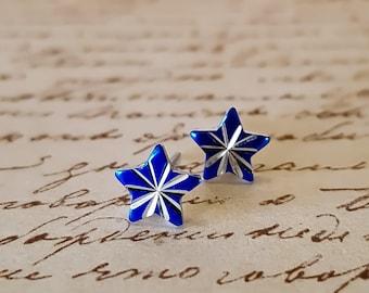 Vintage  Blue Star Stud Earrings