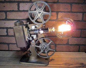"Vintage Retro Repurposed Table Lamp Movie Projector Lamp 15"" Tall with Edison Bulb  Keystone 8 mm Projector Steampunk Lamp"
