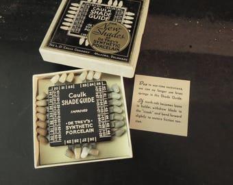 Dental Collectible - Synthetic Porcelain 1940's False Teeth - Shade Guide Caulk - Gift Dentist Medical Vintage - Prop Display Teeth