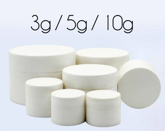 50 pcs (3g / 5g / 10g) Plastic Jar, Pot, Bottle with Lid & Disc Liner - Skincare Face Cream, Cosmetic, SPA Bath Packaging