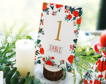 Table Numbers Cards - Passionate Roses - Wedding, Party Banquets Table Decors