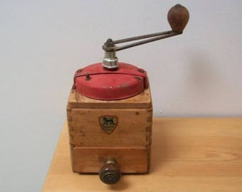 Vintage French 50s coffee grinder. Peugeot Freres Brothers.  Kitchenalia