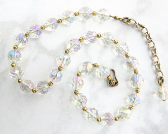Vintage Jewelry - Crystal Bead Necklace - 1950s Fashion - Vintage Necklace - Mad Men Gift For Her- Vintage Wedding Jewelry - Bridal Necklace