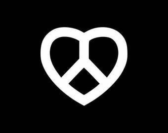 Peace Sign Heart Decal - Peace Love Symbol Vinyl Decal Peace Symbol Sticker  Peace Sign Phone Decal, Peace Car Sticker Laptop Yeti Tumbler