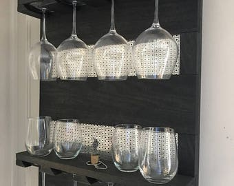 ON SALE You Get to Pick The Stain Color, Wall Mounted Red Wine Glass Rack with Shelves and Decorative Mesh, Wine and Liquor Shelf