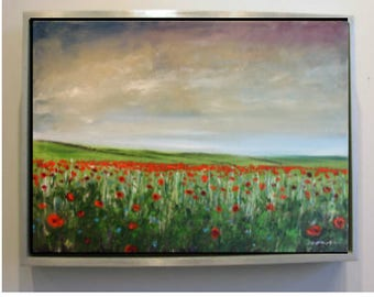 Poppy Field Landscape Oil Painting Original