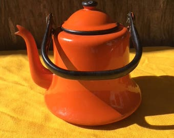 Vintage Orange Asian Ceramic Japanese Tea Pot