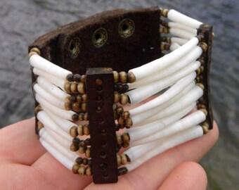 Cuff Shaman Ketoh  bracelet wristband Indian Navajo good luck  dentalium shells Buffalo Bison leather bones handcrafted customize signed