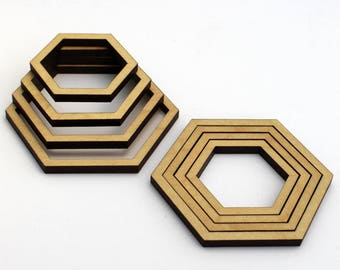 8 Concentric Hexagon Wood Beads : Maple