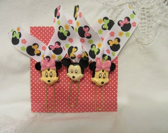 Mickey/Minnie Mouse Cabochon/Ribbon Planner Paperclip
