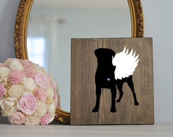 Bull Mastiff Angel Wing Silhouette, Remembrance Sign, Dog Memorial, Loss of Dog, Bull Mastiff Silhouette, Bull Mastiff Pet Loss,