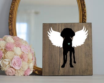 Vizsla Angel Wing Silhouette, Remembrance Sign, Memorial, Loss of Dog, Vizsla Art, Vizsla Portraits, Pet loss, Pet Memorial, Dog Memorial