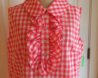 Vintage Dress Gingham Ruffles L XL