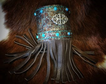 Custom Made Turquoise & Brown Leather Fringe Cuff