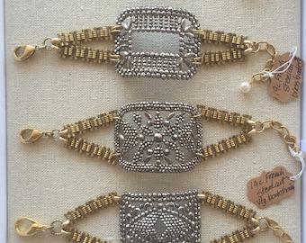 Antique French Steel Cut Buckle Bracelet Chain Cuff