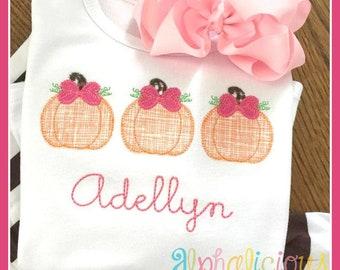 Pumpkin APplique, Pumpkins Applique, Pumpkin Trio Applique, Pumpkin Shirt, Pumpkin girls shirt