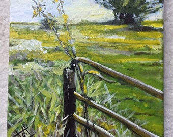 Gate and Pasture - 8 x 10 acrylic on canvas