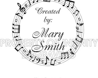 Personalized Created By Music Rubber Stamp