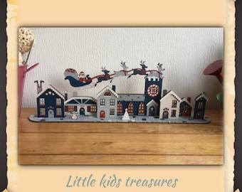 3D COBBLESTONE VILLAGE handmade wooden christmas centrepiece - Little kids treasures