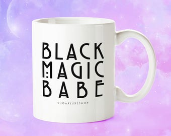 BLACK MAGIC BABE | Halloween White Coffee Mug