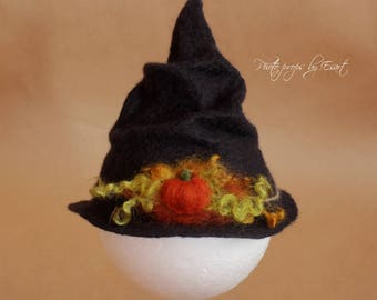 Felted witch hat pumpkin black halloween hat newborn photography props photo prop