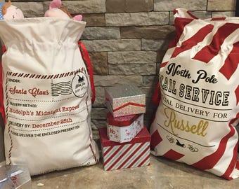 Personalized Santa Sacks. Candy Cane Stripe. North Pole Mail. Christmas Gift Sacks. Santa Bags. Professional Vinyl Pressing.
