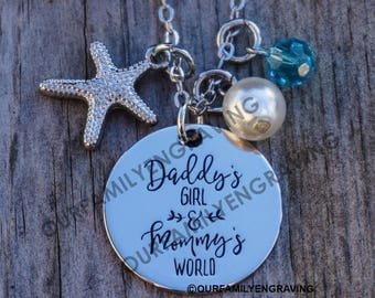 Daddys girl Mommys world necklace pendant starfish
