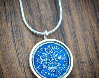 1953- 1967 Blue Enamelled Lucky Sixpence Necklace 1958 60th, 1948 70th Bride Necklace Wedding Sixpence English Coin Necklace Willoughby