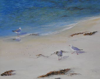 Acrylic painting . Seagull painting. Seascape painting. Canvas painting. Summer painting. Impressionist painting.