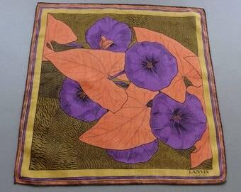 Vintage Signed Lanvin Paris Cotton Hankie Handkerchief with Nasturtium Pattern