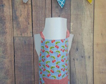 Reversible Kid's Apron, Toddler apron, girls apron, boys apron, teen apron - blue cherries