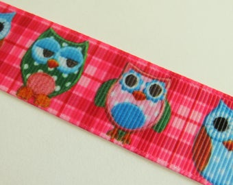 Ribbon of multi-colored owls on Pink Plaid background