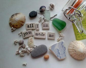 Poem and beach finds in a jar - gift - poem - coastal - treasure