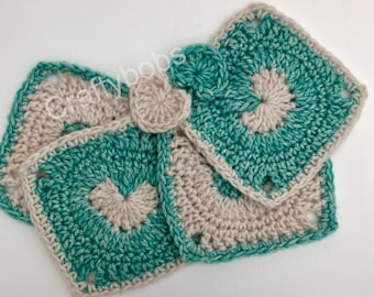 Square Crochet Drinks Coasters 100% Cotton Set of Four