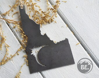 "Idaho Eclipse State Rustic Raw Steel Ornament 5"" ID Metal State Moon Sun Keepsake Travel Christmas By BE Creations"