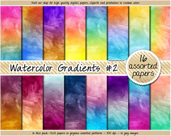 SALE watercolor digital paper rainbow gradient digital paper paint stroke texture bright watercolor print pastel watercolor background 12x12