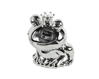 Sweet, small moneybox frog king, silvered and tarnish-frog