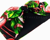 Tropical Pink Flamingo Palm Tree Rockabilly Vintage 1950's Inspired Self Tie Head Scarf Hair Tie Headscarf Hair Bow by Miss Cherry Makewell
