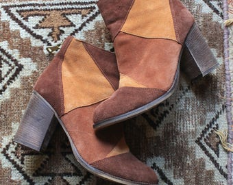 90's Does 70's Patchwork Suede Ankle Boots