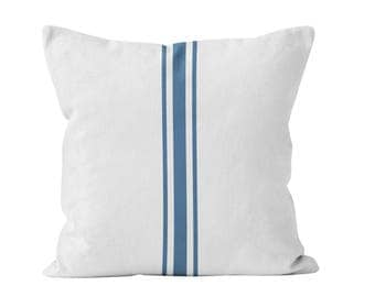 Farmhouse Decor Gift for Her, Blue Grain Sack Print Throw Pillow Cover Ready to Ship 20x20 farmhouse pillow cover blue stripes _RTS