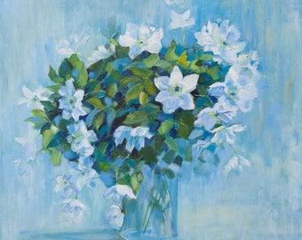 "Oil Painting Spring Flowers ORIGINAL Artwork Home Decor Living Room Wall Decor Floral Wall Hanging Art, Still Life 18""x18"""
