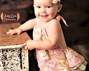 Baby Girl Romper, Ruffle Bottom Romper, Cake Smashing Outfit, Birthday Bubble Romper