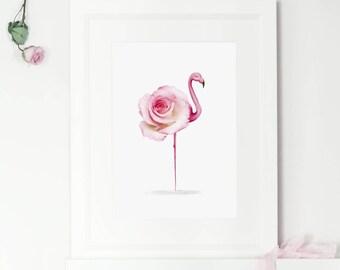 Flamingo print art, flamingo print, flamingo wall art, nursery home decor, gift for girl, girls wall art, rose wall art print, bedroom decor